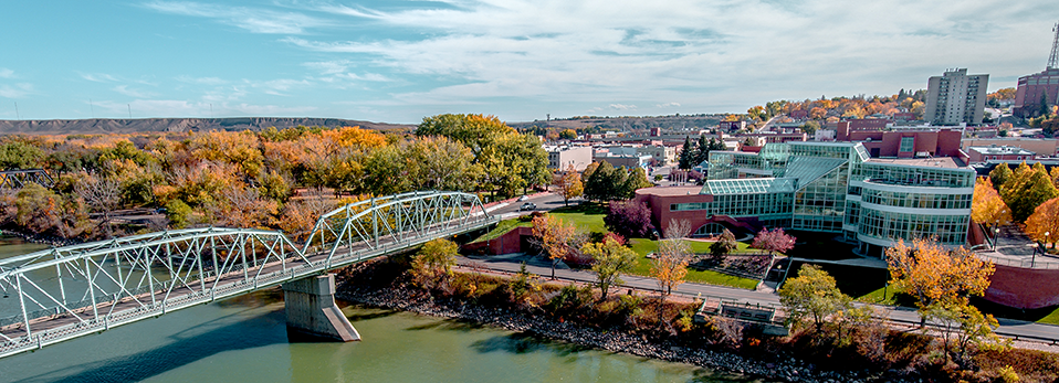aerial view of downtown Medicine Hat and South Saskatchewan River