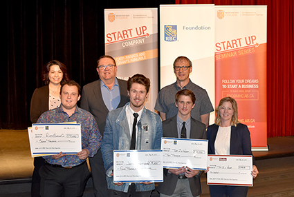 Image of winners and judges from pitch competition