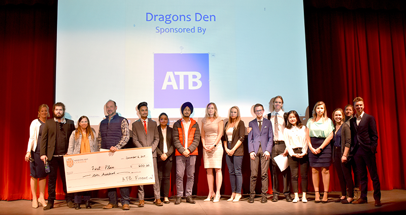 Business students pitch their ideas at a Dragons Den event.